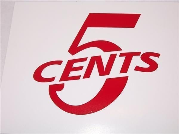 """""""5 Cents"""" Red or White Vinyl Decal"""